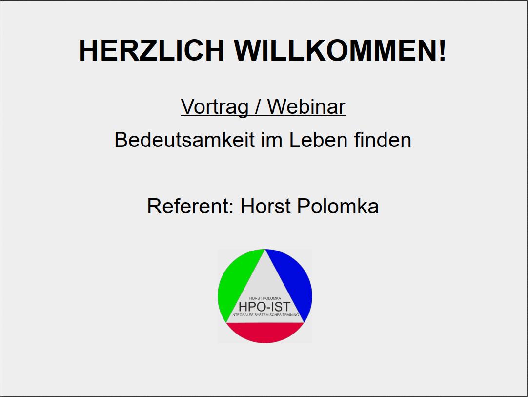 """Präsentation zum Webinar """"Bedeutsamkeit im Leben finden"""""""
